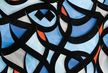 C'est l'aube de eL Seed, maquette de tapisserie, huile sur toile, 2016. Collection Cité internationale de la tapisserie.  © eL Seed.