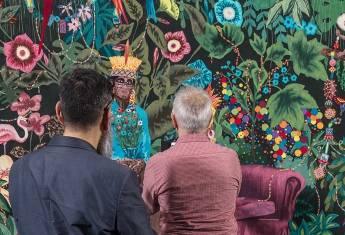 La famille dans la joyeuse verdure, de Leo Chiachio et Daniel Giannone, 2ème Prix 2013 de la Cité de la tapisserie. Photo Nicolas Roger