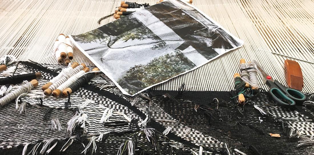 Lucite, Eva Nielsen, weaving in progress, Patrick Guillot workshop, Aubusson