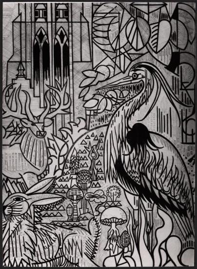 Carton pour la tapisserie L'Automne de Marcel Gromaire, en grisaille