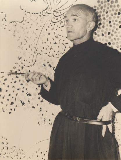 Le moine Dom Robert, retouche d'un carton