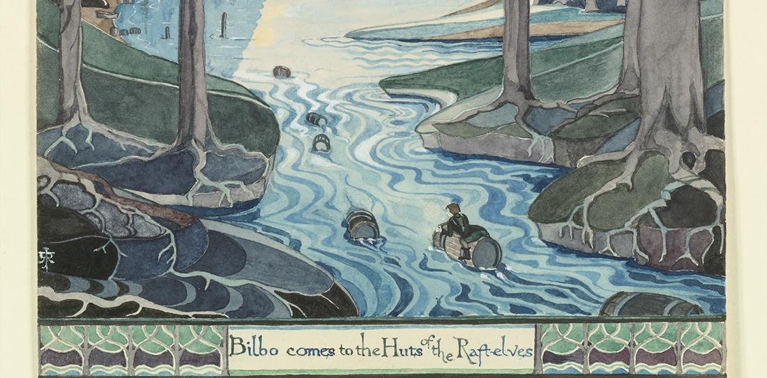 J.R.R. Tolkien, Bilbo comes to the Huts of the Raft-Elves (détail), The Hobbit, chap. IX, 1937. Aquarelle sur papier. © The Tolkien Estate Limite