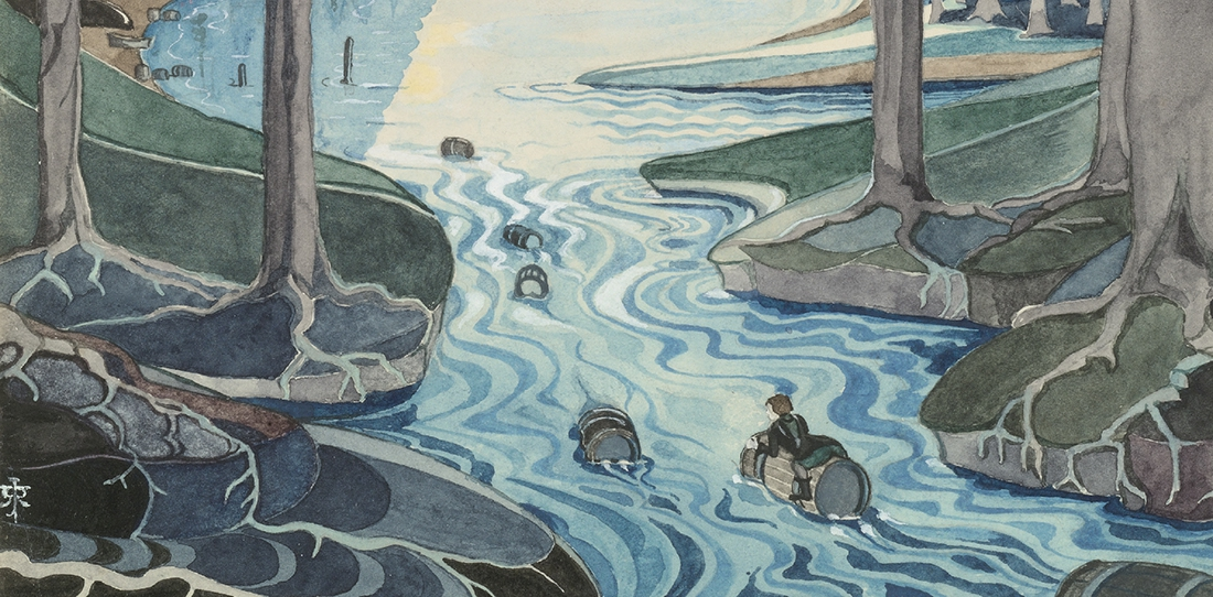 Bilbo comes to the Huts of the Raft-Elves, by J. R. R. Tolkien. © The Tolkien Estate Limited 1937