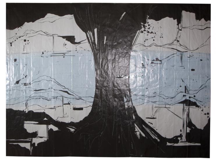 Carton pour la tapisserie La rivière au bord de l'eau, d'après Olivier Nottellet