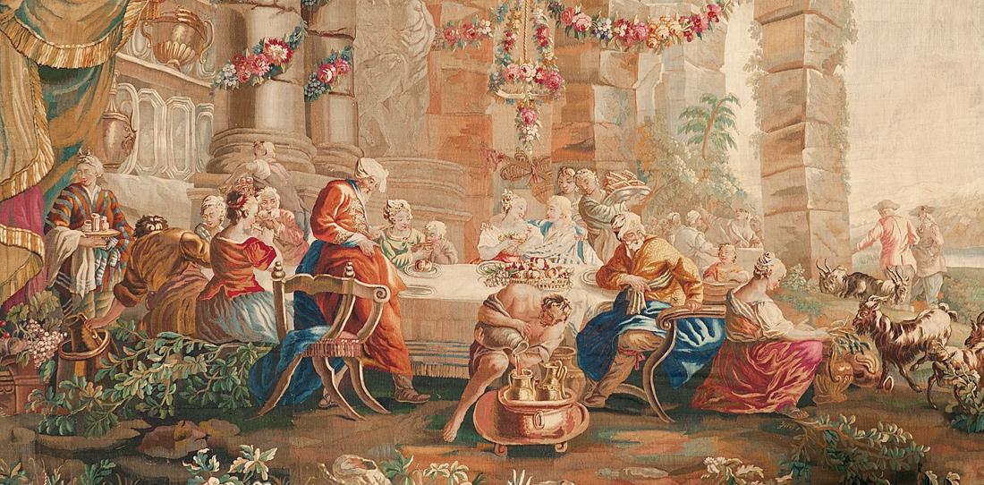 Les noces de Daphnis et Chloé, détail, Ateliers d'Aubusson, XVIIIe siècle