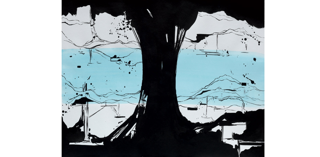 Model of the tapestry, La Rivière au bord de l'eau, Indian ink and gouache on paper, Olivier Nottellet, 2010