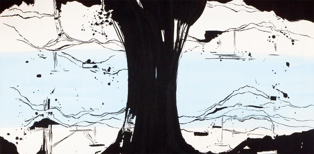 La Rivière au bord de l'eau (détail), d'après Olivier Nottellet, 3e prix 2010 de la Cité internationale de la tapisserie, tissage atelier Bernard Battu, 2011