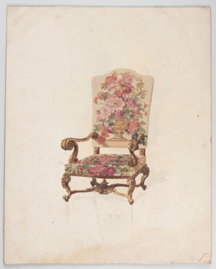 Model of a chair, Pinton workshop, 19th century. Gouache on paper