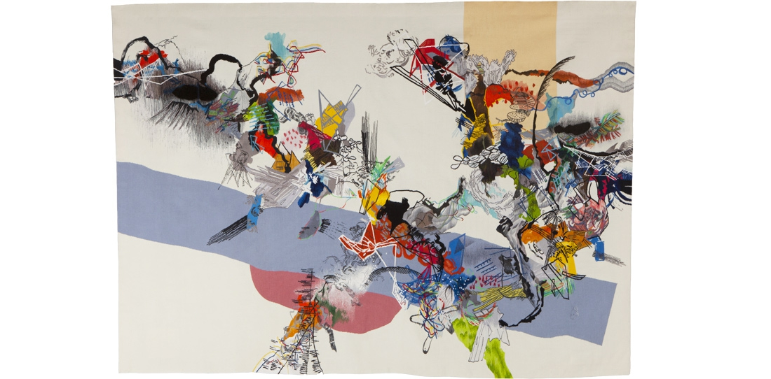 Blink # 0, Benjamin Hochart, 2e prix 2010, deuxième pièce du triptyque, tissage Ateliers Pinton, 2011