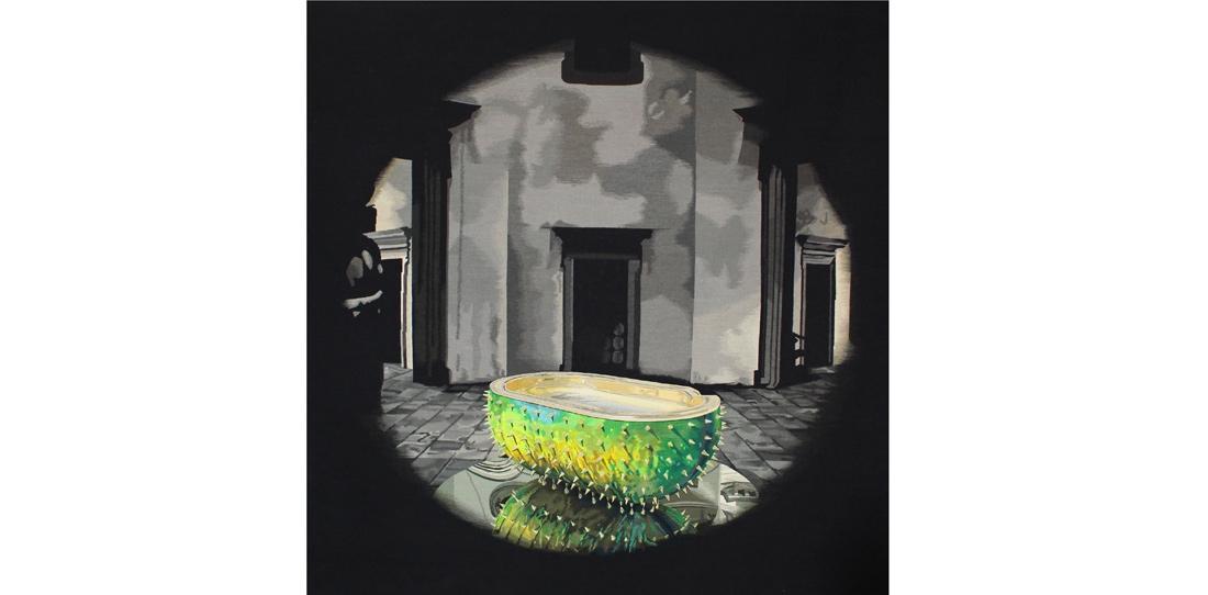 Le Bain, d'après Christophe Marchalot et Félicia Fortuna, tissage Atelier Catherine Bernet, 2014