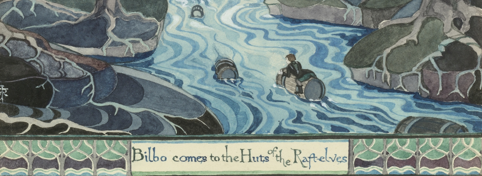J.R.R. Tolkien, Bilbo comes to the Huts of the Raft-Elves (detail), The Hobbit, chap. IX, 1937. Watercolour on paper. © The Tolkien Estate Limited