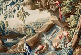 Verdure fine aux armes du comte de Brühl, tapisserie de basse lisse, XVIIIe siècle, atelier De Landriève, Manufacture royale d'Aubusson. Projet d'acquisition exceptionnel.