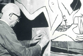 Le Corbusier working on the cartoon of the tapestry