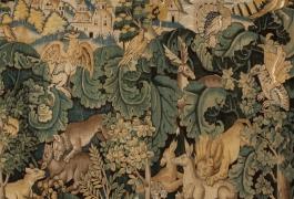 Verdure à feuilles de choux ou aristoloches, tapisserie laine et soie, atelier marchois, deuxième moitié du XVIe siècle